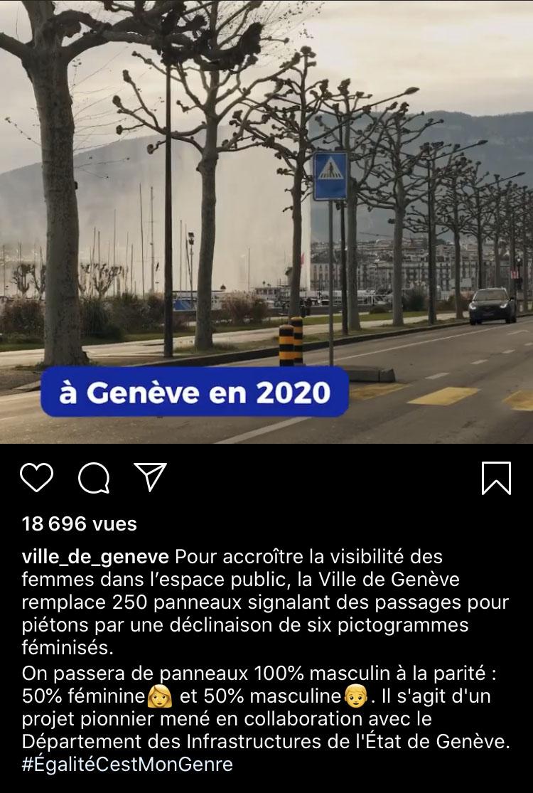 Féminisation des panneaux dans la ville de Genève pour 2020