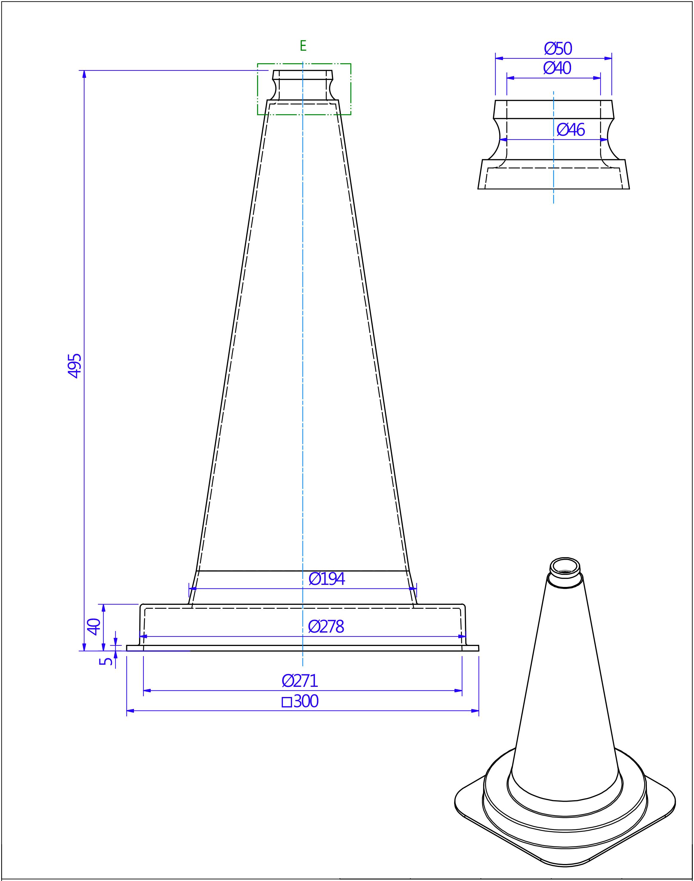 Schéma technique du cône de signalisation