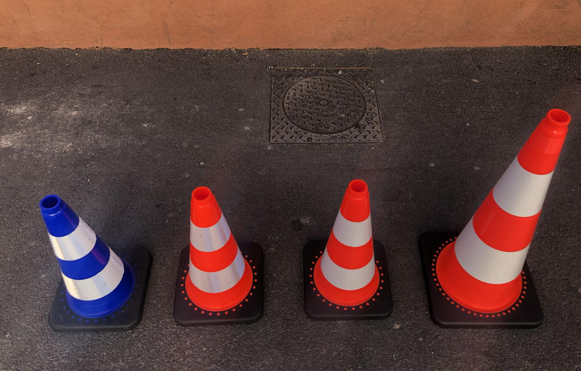 Les différentes tailles des cônes de chantier