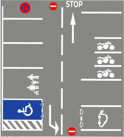 La mise en oeuvre d'un pochoir dans les parkings