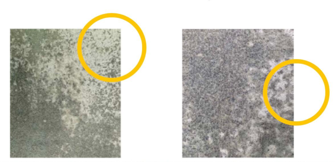 Zones blanches sur support béton